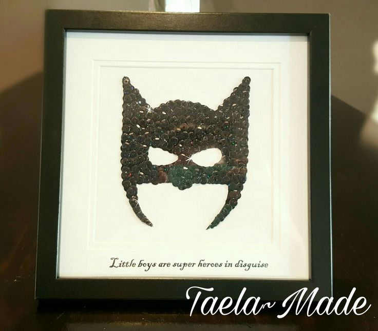 """""""Little Boys are Super Heroes in Disguise"""" sequin art boxed frame DIY craft for the home  Taela-Made"""
