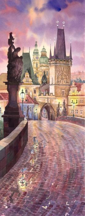 Prague Charles Bridge Night Light by Yuriy Shevchuk watercolor