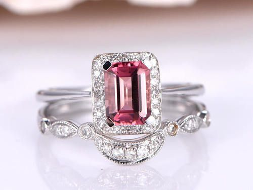 Beautiful Tourmaline engagement ring Wedding ring set ct pink emerald cut tourmaline Curved