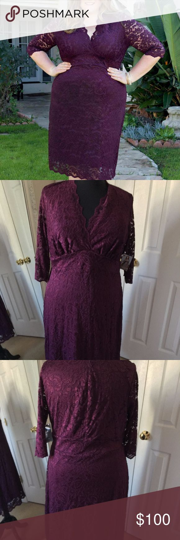 """Kiyonna Scalloped Lace Boudoir Dress Plum 2X 18 20 New with tags Kiyonna Scalloped Lace Boudoir dress in plum lace with plum lining, size 2X (18/20).    Lace: 62% Nylon, 27% Rayon, 11% Spandex; Lining: 100% Polyester Scalloped lace on neckline, sleeves and hem Fully lined except sleeves 17 1/2"""" sleeve length. 3"""" wide empire waist band, measuring approximately 41"""" around, relaxed. ~45 1/2"""" length from high point of shoulder to hem Kiyonna Dresses Midi"""