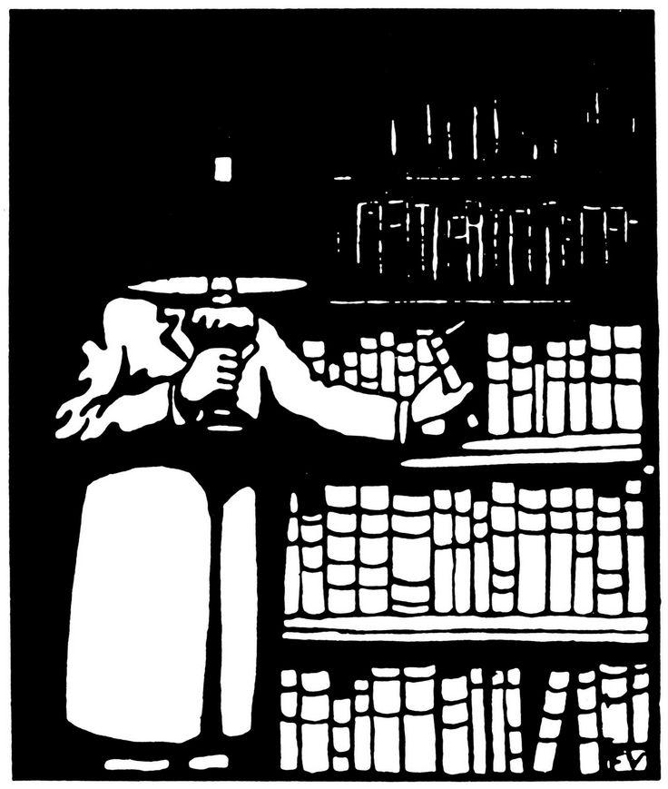 Le Bibliophile, 1911, woodblock print, by Felix Vallotton (1865-1925) http://nydamprintsblackandwhite.blogspot.com/2011/01/felix-vallottons-woodblock-prints.html