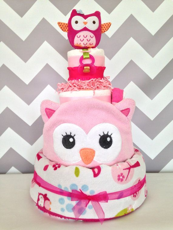 Deluxe 4 Tier Owl Diaper Cakes, Pink Baby Girl Baby Shower Centerpiece On  Etsy,