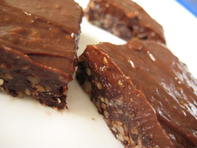 Raw Chocolate Brownies.  Amazing!  The frosting is made from honey, avocado, cocoa.....SO tasty!