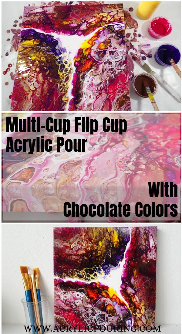 Multi-Cup Flip Cup Acrylic Pour with Chocolate Colors