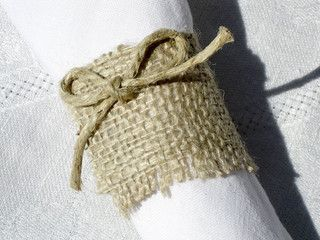 Rustic Burlap Napkin Rings Set of 4 by Splendid Events - eclectic - napkin rings - by Etsy