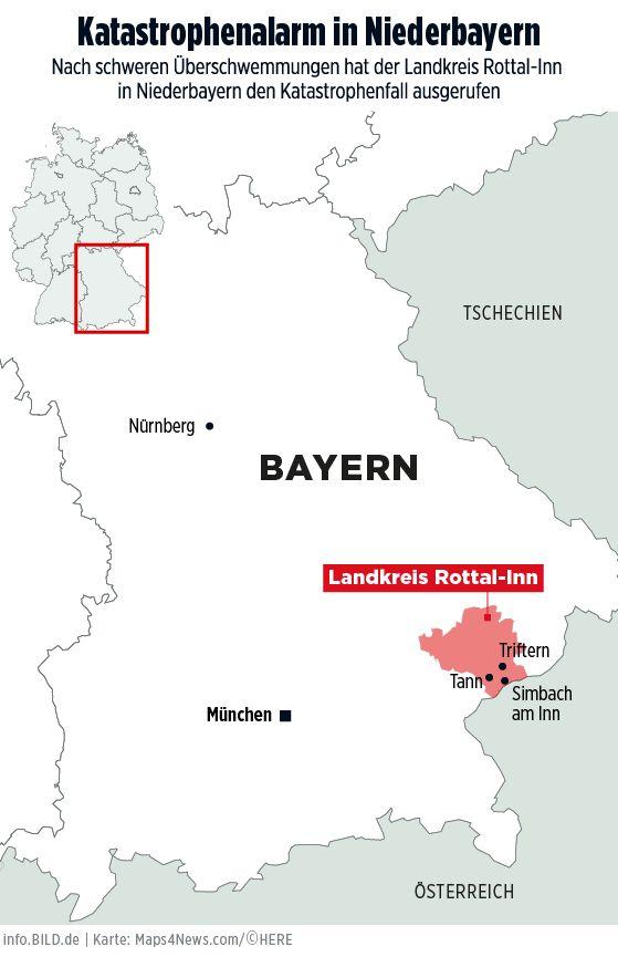 Karte: Katastrophenalarm in Niederbayern (Landkreis Rottal-Inn) - Infografik