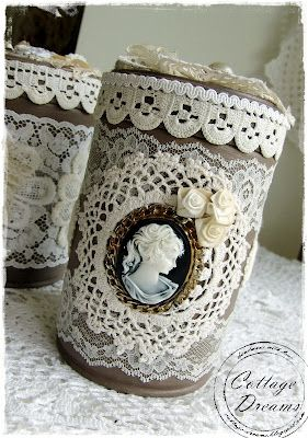 mason jar with lace and portrait shabby chic
