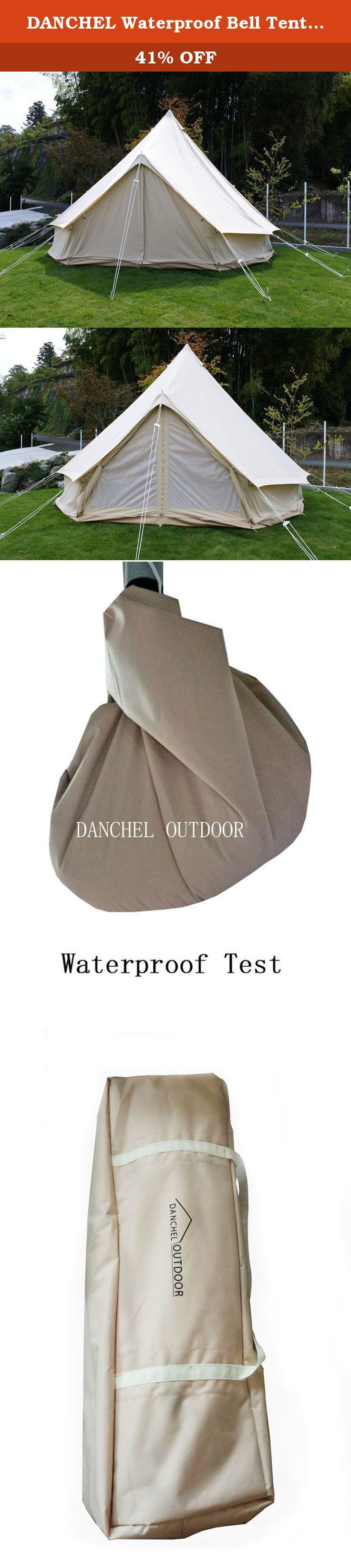 DANCHEL Waterproof Bell Tent 900D Oxford Fabric 3000mm for 4 Persons, Size 4M / 13.1 Feet. Feature of bell tent MATERIAL : 900D OXFORD fabric, 5000MM waterproof treatment on the surface, cream coloured; 540gsm thick PVC in bottom WINDOW and DOOR : comes with 4 zipped side windows and 4 air vents with mosquito netting on the window?for air flowing inside and outside. And come with one zipped door with mosquito netting too. WONDERFUL VIEW : It has full zip around the bottom and you can roll...