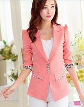Encogimiento de hombros de traje de chaqueta blazers M-XXL chaquetas casual suit abrigos para mujeres prendas de vestir exteriores de manga larga delgado chaqueta de color rosa(China (Mainland))