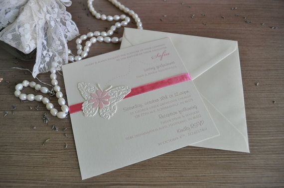 Pink Butterfly Baptism Invitation. Ivory and by InvitatiiCouture
