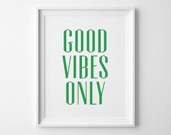 Décor de mur seulement source d'inspiration d'impression, motivation de bonnes Vibes, bureau moderne Art, Art vert et blanc, citation motivation fines rayures jaune