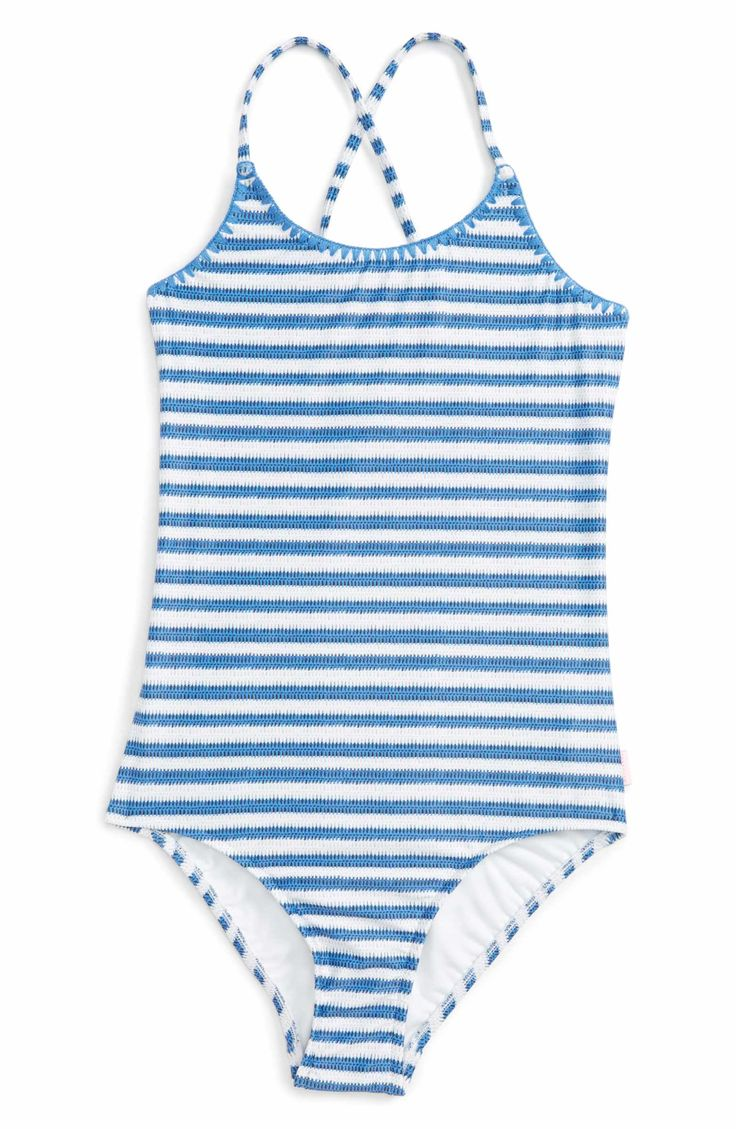 Main Image - Seafolly Sapphire Coast One-Piece Swimsuit (Big Girls)
