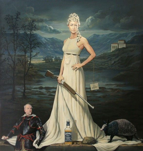 Alan Macdonald' A Dame With No Shame' Oil on Linen 44x42 | Scottish Contemporary Art