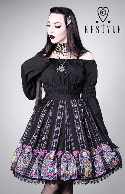 """""""STAINED GLASS"""" gothic lolita skirt, Beauty and the Beast print"""