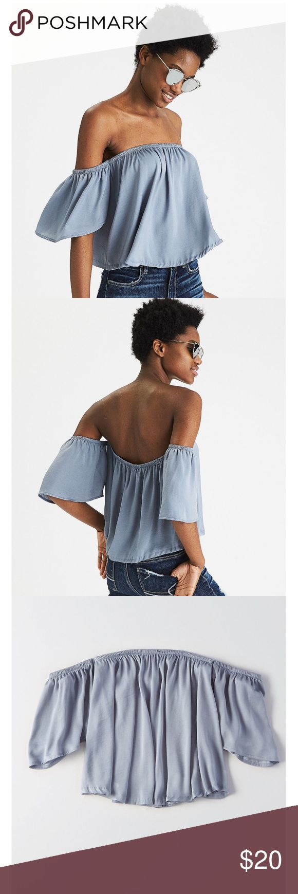Silly Off-the-Shoulder Shirt NWT soft silk material that is super comfortable on the skin. Could also fit xs. American Eagle Outfitters Tops Blouses