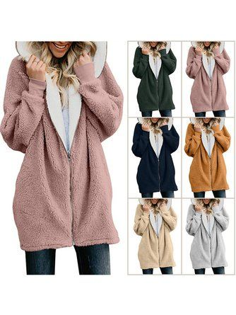 Zipper Cashmere Solid Sweet Long Sleeve Hoodie Teddy Bear Coats ... 5101053b7