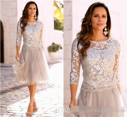 2016 Champagne Short Mother Of The Bride Dresses For Women Formal Party Gown Long Sleeve Lace Applique Tea Length Groom Wedding Guest Dress