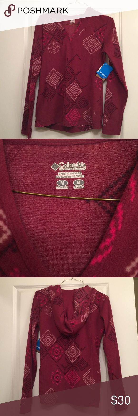 Columbia fleece pullover with hood! Columbia women's medium fleece pullover with hood. A nice light layer to be worn alone or diner a vest / jacket. The pattern is the best! Feel free to make an offer! New, never worn, with tags! Columbia Tops Sweatshirts & Hoodies