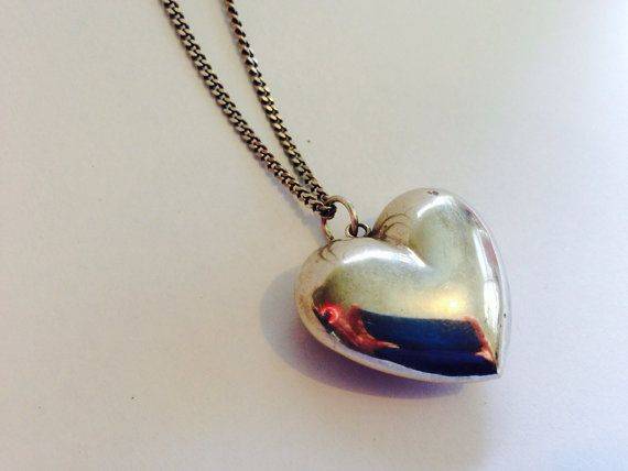 Vintage sterling silver 3D / puffy heart by ThreeBearsBrown