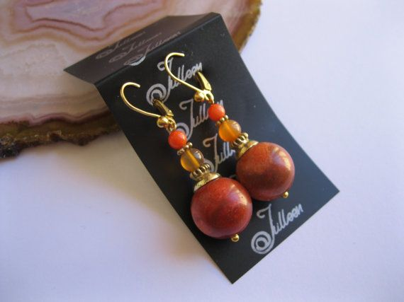 Double Coral and Carnelian Earring Gold Vermeil by Julleen