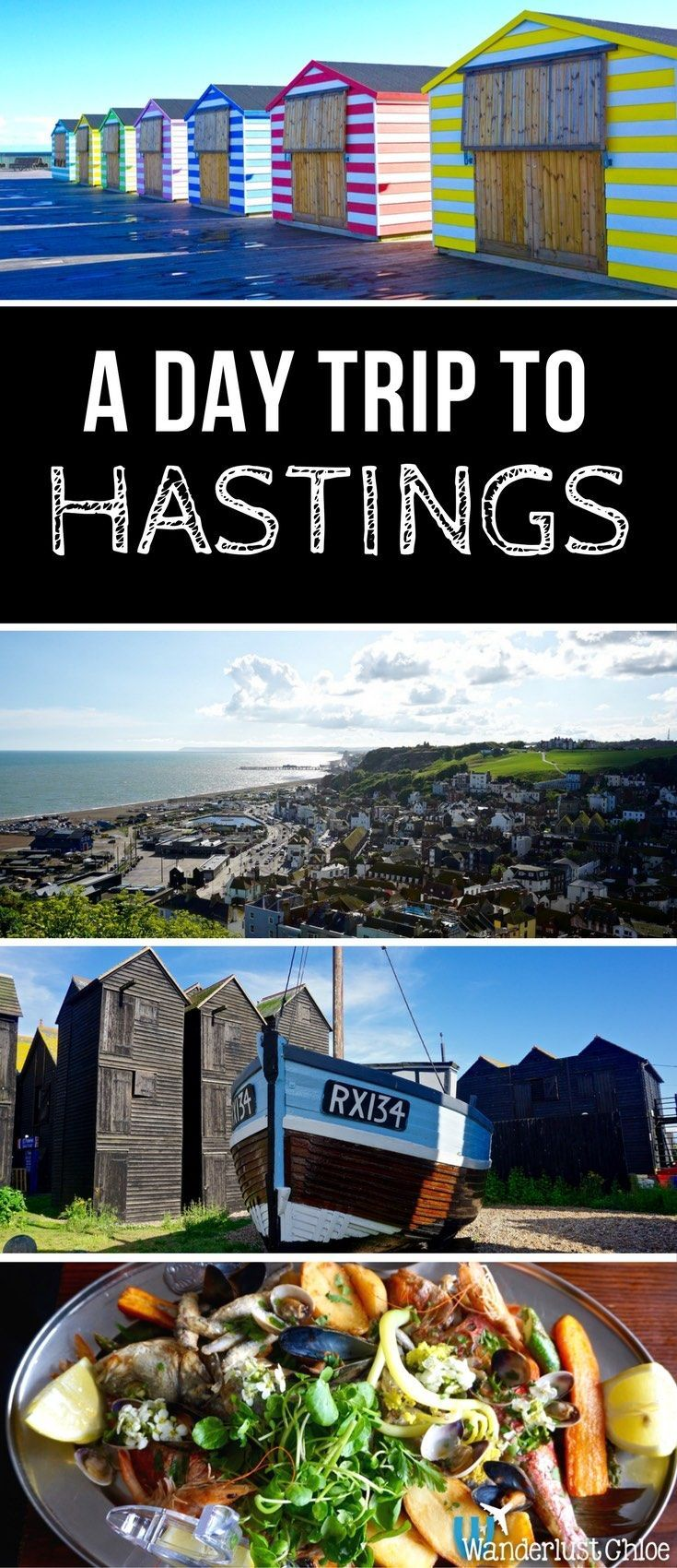 A Day Trip To Hastings, South East England. Candy coloured beach huts, a funicular railway, top seafood, an old high street lined with independent stores, and hidden gems galore – Hastings ticks every box on the seaside day trip list! https://www.wanderlustchloe.com/hastings-day-trip-things-to-do/