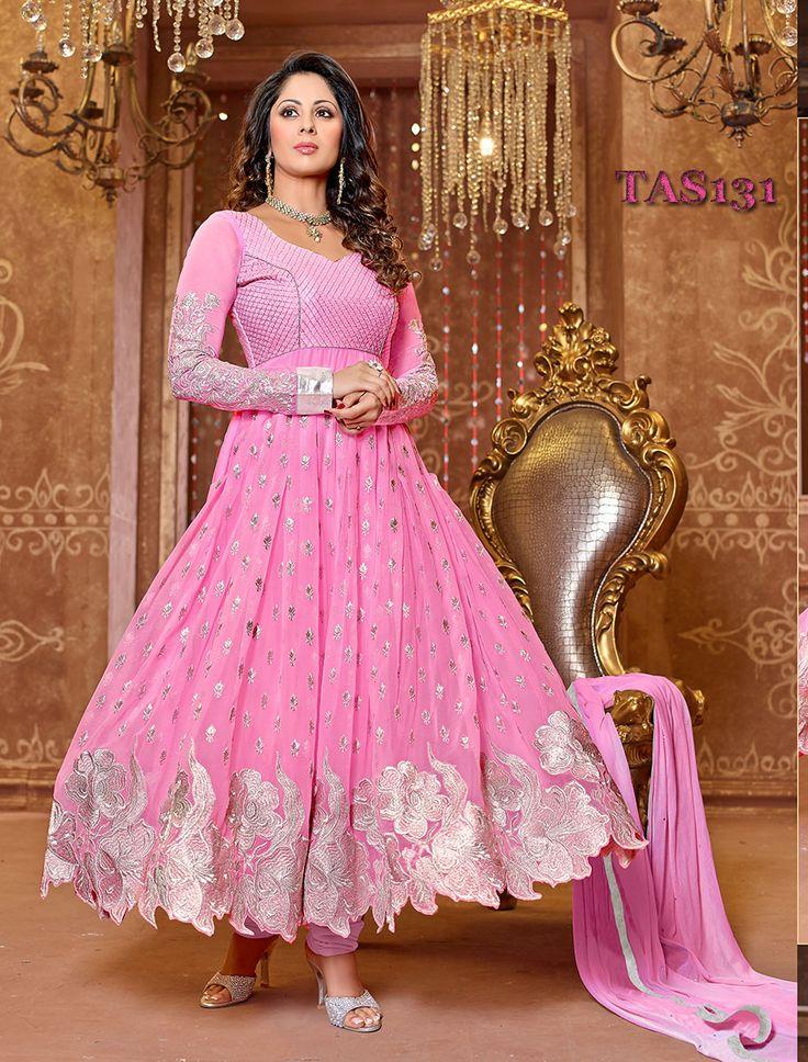 Thankar New Attractive Designer Georgette Pink Anarkali Suit-Clothing-Thankar