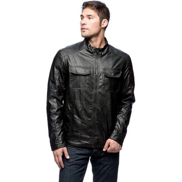 Excelled Men's Faux Leather Multi-pocket Hipster Jacket (430 SEK) ❤ liked on Polyvore featuring men's fashion, men's clothing, men's outerwear, men's jackets, black, mens leopard print jacket, mens sherpa lined jacket, mens faux leather jacket and mens hipster jackets