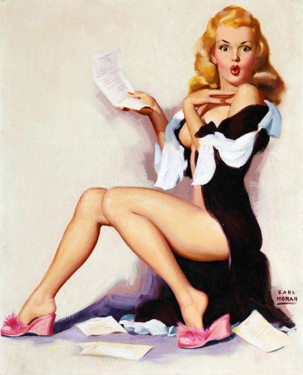 "Earl Moran with Marilyn from March 1953 calendar. Moran had an unusual way of using expressions on the models face such as this illustration. Great likeness to Marilyn here and love the work with the black robe and the pink slippers - ""What you don't owe won't hurt you."" And the stack of bills laying on the floor. Follow me on Facebook at www.facebook.com/..."