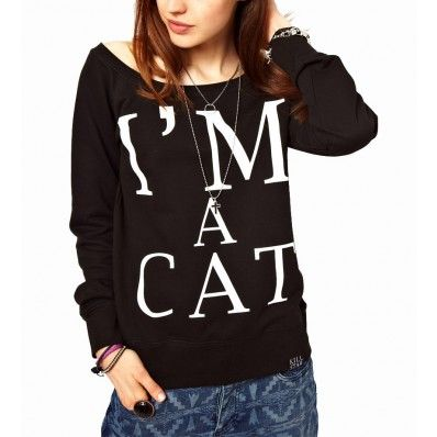 Black I'am A Cat Printed Pullover T-shirt