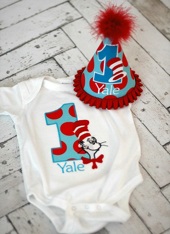 Cat in the Hat Dr Seuss Birthday T-Shirt Onesie Bodysuit and Party Hat  - Cake Smash - Free Personalization