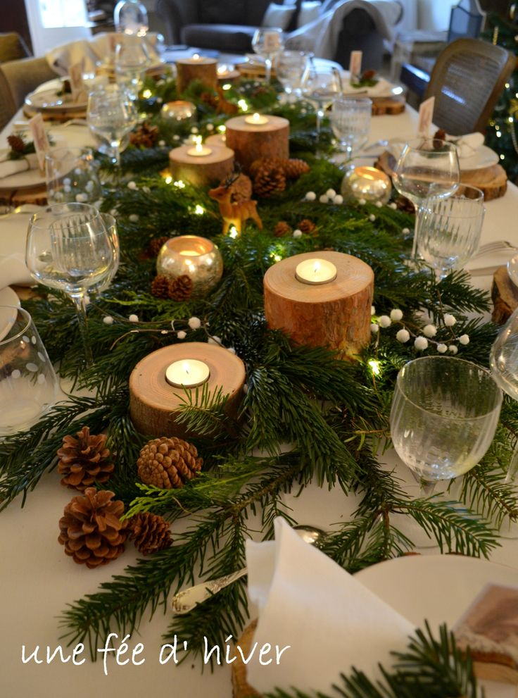 1000 id es sur le th me d corations de table de no l sur pinterest d corati - Idee deco noel exterieur naturel ...