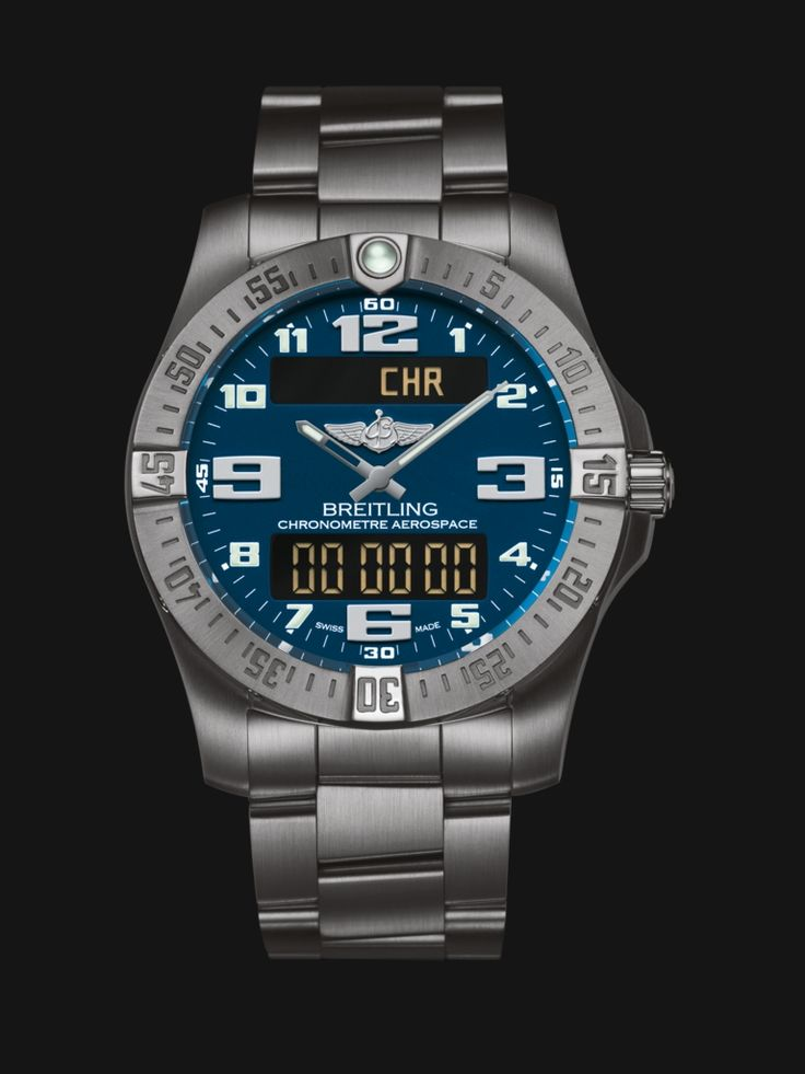 Aerospace Evo watch by Breitling - satin brushed titanium case and bracelet with blue dial