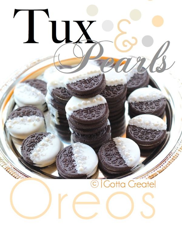 Tuxedo and Pearls Oreos. The casual cookie gets dressed up!  @ I Gotta Create!