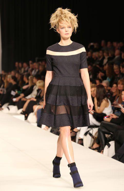 Trelise Cooper NZFW 2014 Mesh Stripe Dress