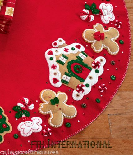 Traditional Stitched Felt Tree Ornaments Santa Claus Rudolph and Gingerbread Man. Set of 3 Christmas Decorations