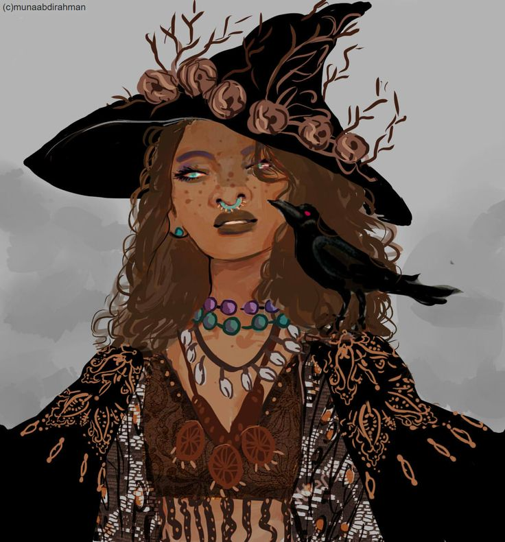 "wakaju: "" The golden death witch from my witch series, i finally sat down and did some new illustration for it!!! here are the others witches 1, 2, 3, 4, 5 , """