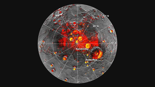 """Un articolo pubblicato sulla rivista """"Icarus"""" descrive uno studio sul ghiaccio d'acqua esistente all'ombra di vari crateri del pianeta Mercurio che aveva lo scopo di stimarne la quantità, che potrebbe essere molto superiore a quella prevista con veri e propri ghiacciai spessi decine di metri. Le stime sono ancora approssimative e anche sull'origine di quell'acqua ci sono ancora varie ipotesi."""