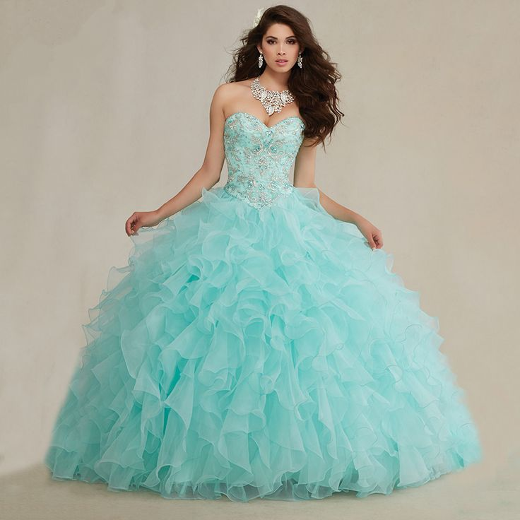 New Arrival 2016 Embroidery Beaded Sweetheart Organza Ruffles Mint Quinceanera Dresses Ball Gowns