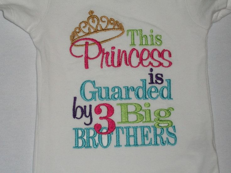 This Princess is Guarded by 3 Big Brothers Embroidered Shirt or Onesie- Funny Baby Girl Onesie- Funny Toddler Shirt- Big Brothers. $22.00, via Etsy.