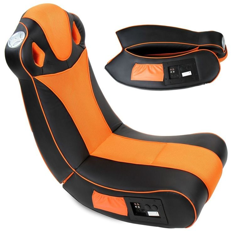 Gaming Chair Seat Inbuilt Subwoofer Playstation Xbox Music Folding Black  Orange