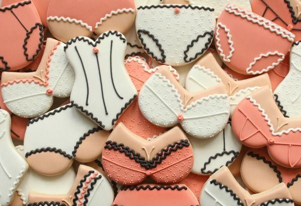 Lingerie Cookies tutorial...using heart and egg shaped cookie cutters
