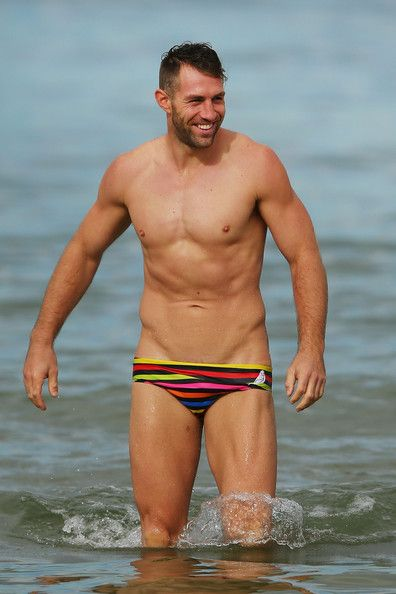 Travis Cloke walks out of the water during a Collingwood Magpies AFL recovery session at St Kilda Sea Baths on March 25, 2014 in Melbourne,...