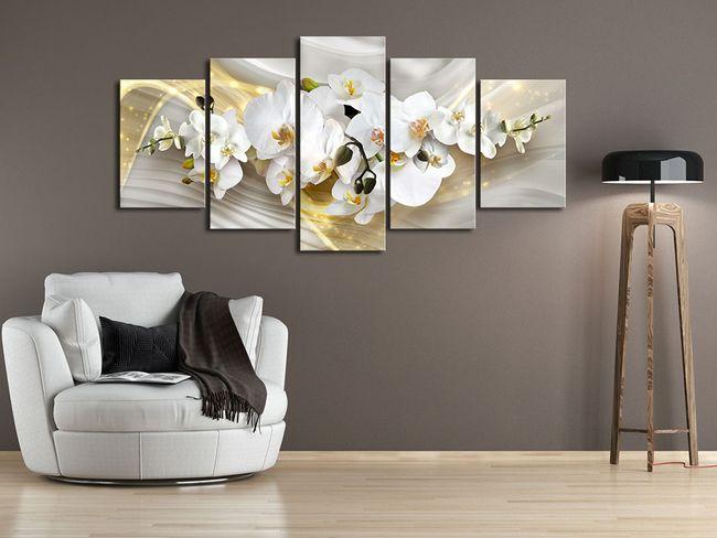 Obraz na ścianę z motywami kwiatowymi: słoneczne orchidee w nowoczesnym stylu! Zobacz także inne pięcioczęściowe wydruki na płótnie w kolekcji bimago