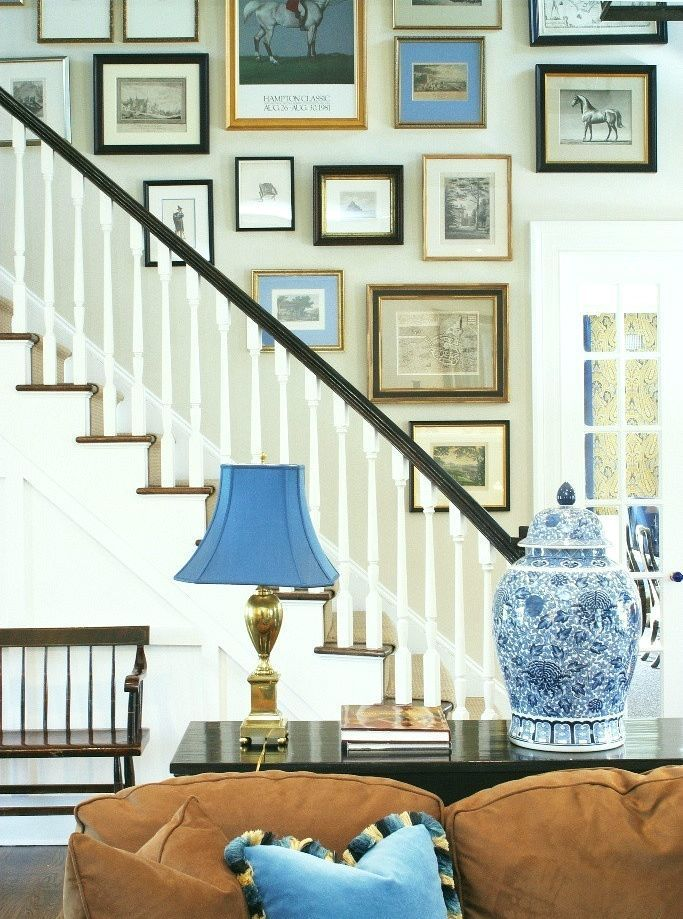 Gorgeous Art Gallery Wall On Stairs By Scott Sanders Love The Chinoiserie Ginger Jar Too
