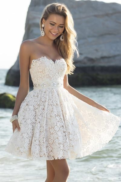 Sweetheart strapless neckline lace a line floral beaded waistline summer wedding spring date be achy dress