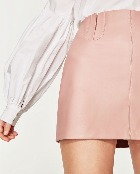 Image 6 of LEATHER EFFECT MINI SKIRT from Zara