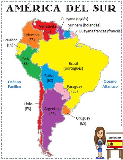 Printable maps of south america in spanish i love for What color is south america