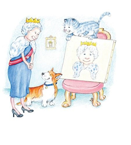 Heather Dickinson Illustration - heather, dickinson, heather dickinson, traditional, paint, painted, painting, watercolour, pencil, commercial, picture book, fiction, educational, cat, dog, animals, painting, queen, royal, crown, seat