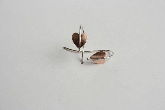 Bronze and silver heart earrings bronze by starboardjewellery
