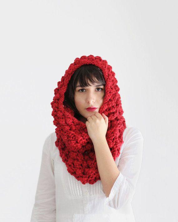 Capucha de punto grueso bufanda - bufanda Infinity - envoltura de burbujas de color rojo brillante - accesorios de otoño de la mujer | La chimenea de Ofelia |